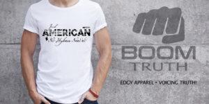 Mens White Tshirt - American No Hyphen Needed